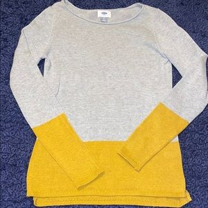 Old Navy mustard yellow and grey sweater